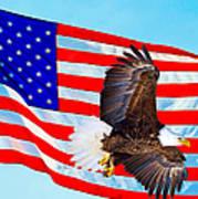 American Flag With Bald Eagle Art Print