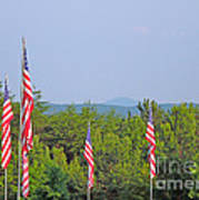 American Flags With Kennesaw Mountain In Background Art Print