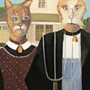 American Gothic Cat Art Print
