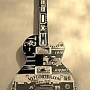American Guitar In Sepia Art Print