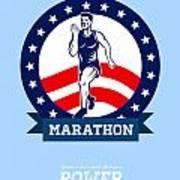 American Marathon Runner Power Poster Art Print by Aloysius Patrimonio
