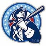 American Patriot Baseball Bat Retro Art Print