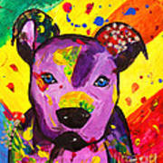 American Pitbull Terrier Dog Pop Art Art Print