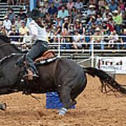 American Rodeo Female Barrel Racer Dark Horse II Art Print