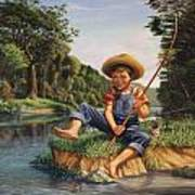 Americana - Country Boy Fishing In River Landscape - Square Format Image Art Print