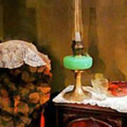 Americana - Still Life With Hurricane Lamp Art Print