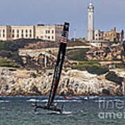 Americas Cup Oracle Team And Alcatraz Art Print