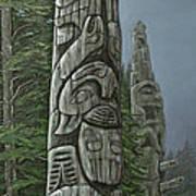 Amid The Mist - Totems Art Print by Elaine Booth-Kallweit