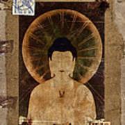 Amida Buddha Postcard Collage Art Print