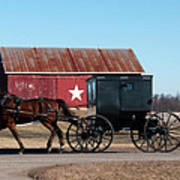 Amish Buggy And Star Barn Art Print