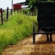 Amish Buggy On Dirt Road Art Print