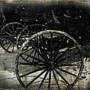 Amish Cart Wheels Grunge Art Print
