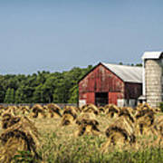 Amish Country Wheat Stacks And Barn Art Print