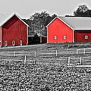 Amish Red Barn And Farm Art Print