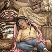 Among Mother's Baskets Art Print