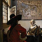 Amorous Couple Print by Jan Vermeer
