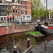 Amstel River Waterfront In Amsterdam Art Print