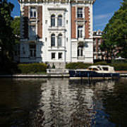 Amsterdam Canal Mansions - Bright White Symmetry  Art Print