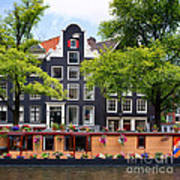 Amsterdam Canal With Houseboat Art Print