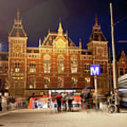 Amsterdam Central Station And Metro Entrance Art Print