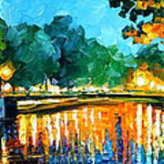 Amsterdam-early Morning - Palette Knife Oil Painting On Canvas By Leonid Afremov Art Print