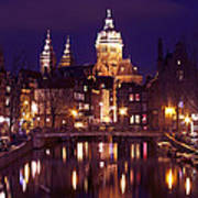 Amsterdam In The Netherlands By Night Art Print