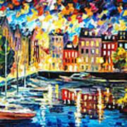 Amsterdam's Harbor - Palette Knife Oil Painting On Canvas By Leonid Afremov Art Print