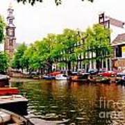 Amsterdams Westerkerk From The Canal  Art Print