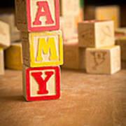 Amy - Alphabet Blocks Art Print