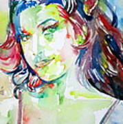 Amy Winehouse Watercolor Portrait.1 Art Print