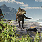 An Acrocanthosaurus Roams An Early Art Print by Arthur Dorety
