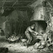 An Alchemist At Work, While  His Wife Art Print