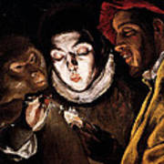 An Allegory With A Boy Lighting A Candle In The Company Of An Ape And A Fool Art Print