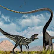 An Allosaurus In A Deadly Battle Art Print
