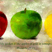 An Apple A Day With Proverbs Art Print