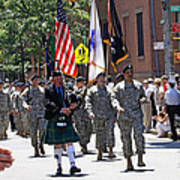 An Army Battalion Marching In The 200th Anniversary St. Patrick Old Cathedral Parade Art Print