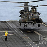An Army Mh-47g Chinook Conducts Deck Art Print