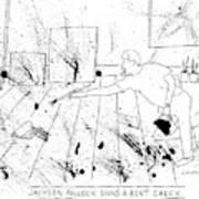 An Artist, Presumable Jackson Pollock, Reaches Art Print