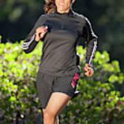 An Athletic Woman Trail Running Art Print