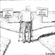 An Elderly Man Is Seen Standing Next To Two Arrow Art Print