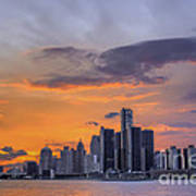 An Evening In Detroit Michigan  Art Print