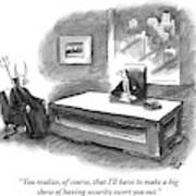 An Executive Sitting At A Desk Is Speaking Art Print