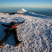 An Exhausted Climber Lies On The Summit Art Print
