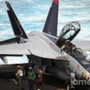 An Fa-18f Super Hornet Sits Art Print