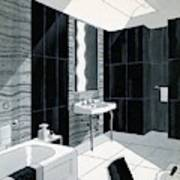 An Illustration Of A Bathroom Art Print