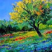 An Oak Amid Flowers In Texas Art Print