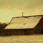 An Old Barn Just After An Early Spring Snow In Keene North Dakota  Art Print