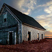 An Old Farm House Sits Partially Buried Art Print