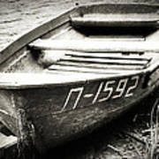 An Old Row Boat In Black And White Art Print