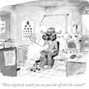 An Optometrist Examines A Cowboy Art Print